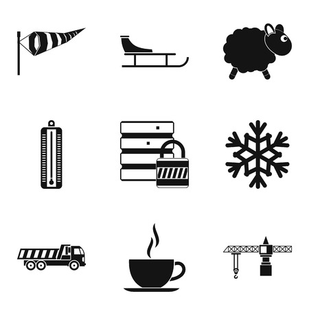 Homelike atmosphere icons set. Simple set of 9 homelike atmosphere vector icons for web isolated on white background. Cup of coffee, sheep, snowflake and truck icons.