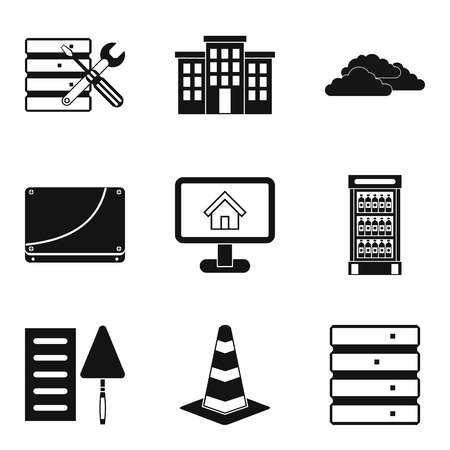 Construct the house icons set. Simple set of 9 construct the house vector icons for web isolated on white background. Buildings, cloud, monitor and screw driver icons. Illustration