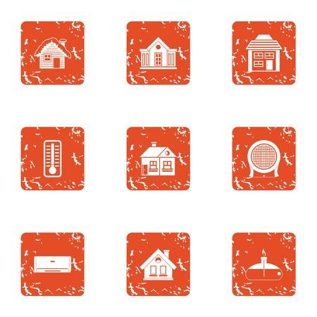 Premise icons set. Grunge set of 9 premise vector icons for web isolated on white background