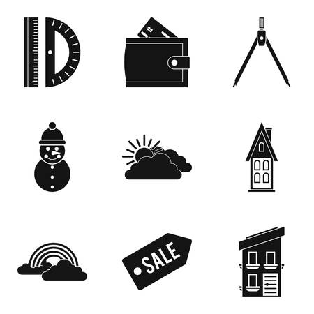 Great house icons set. Simple set of 9 great house vector icons for web isolated on white background  イラスト・ベクター素材