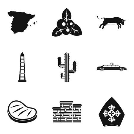 Eating icons set. Simple set of 9 eating vector icons for web isolated on white background. Map, bull, cab, cactus and building icons.