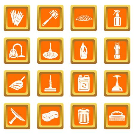 Cleaning icons set vector orange square isolated on white background  Çizim
