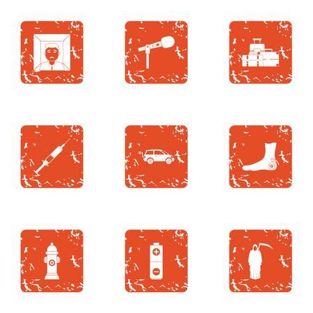 Posthumously icons set. Grunge set of 9 posthumously vector icons for web isolated on white background