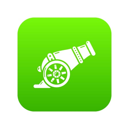 Fire gun icon green vector isolated on white background