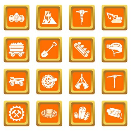 Coal mine icons set vector orange square isolated on white background Illustration