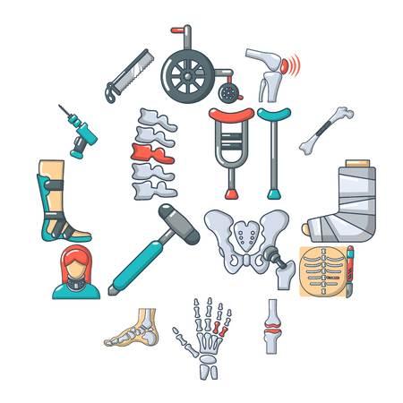 Orthopedist bone tools icons set. Cartoon illustration of 16 orthopedist bone devices vector icons for web Иллюстрация