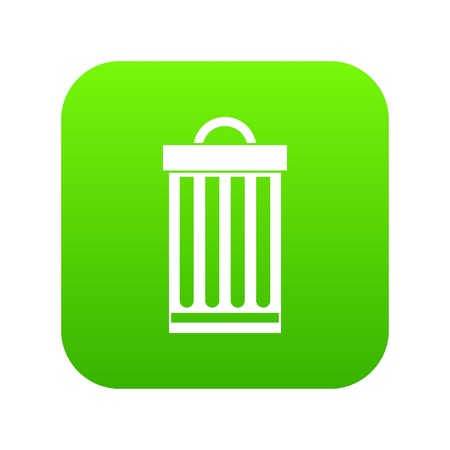 Trash can icon digital green for any design isolated on white vector illustration
