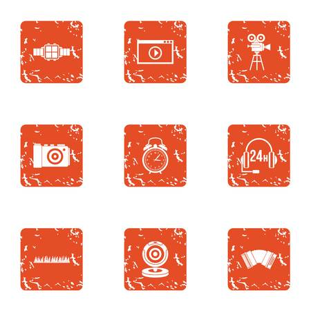 Movie call centre icons set. Grunge set of 9 movie call centre vector icons for web isolated on white background Illustration