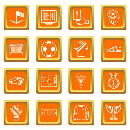 Soccer football icons set vector orange square isolated on white background