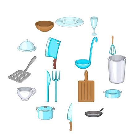 Basic dishes icons set. Cartoon illustration of 16 basic dishes vector icons for web