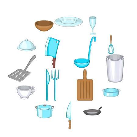 Basic dishes icons set. Cartoon illustration of 16 basic dishes vector icons for web