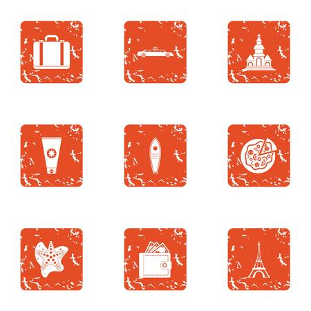 Rich vacationer icons set. Grunge set of 9 rich vacationer vector icons for web isolated on white background
