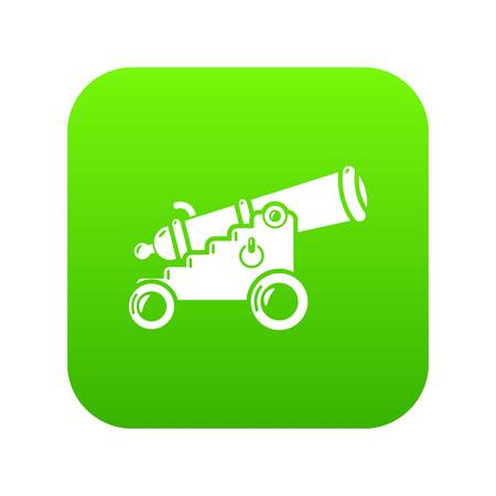 Menacing cannon icon green vector isolated on white background