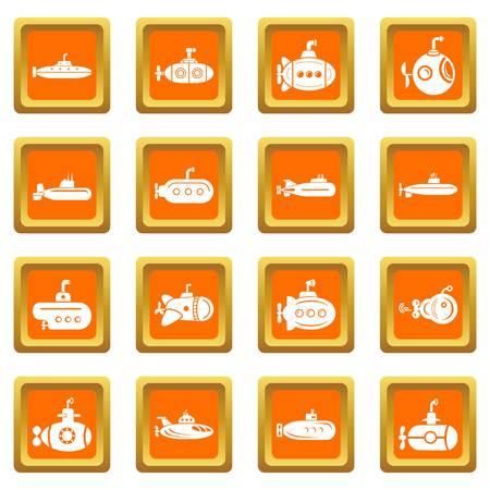 Submarine icons set vector orange square isolated on white background