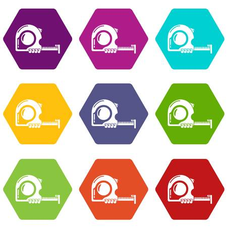 Yardstick icons 9 set coloful isolated on white for web Stock Illustratie