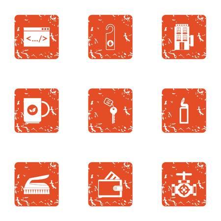 Hotel holiday icons set. Grunge set of 9 hotel holiday vector icons for web isolated on white background