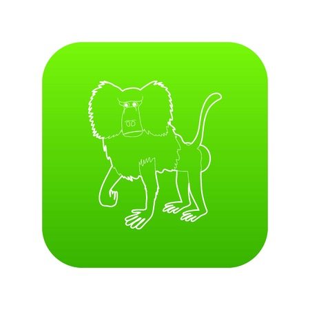 Baboon icon green vector isolated on white background Illustration