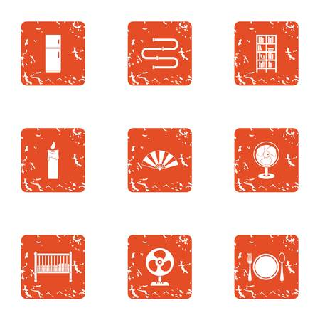 Home cuisine icons set. Grunge set of 9 home cuisine vector icons for web isolated on white background. Refrigerator, electric fan, plate, spoon and fork icons.