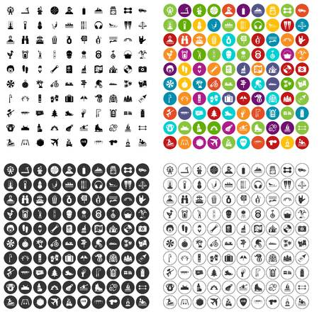 100 leisure activity icons set vector in 4 variant for any web design isolated on white Vectores