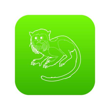 Imperial tamarin icon green vector isolated on white background Illustration