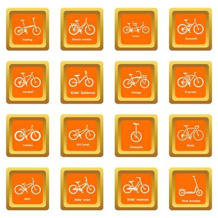 Bicycle types icons set vector orange square isolated on white background