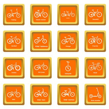 Bicycle types icons set vector orange square isolated on white background