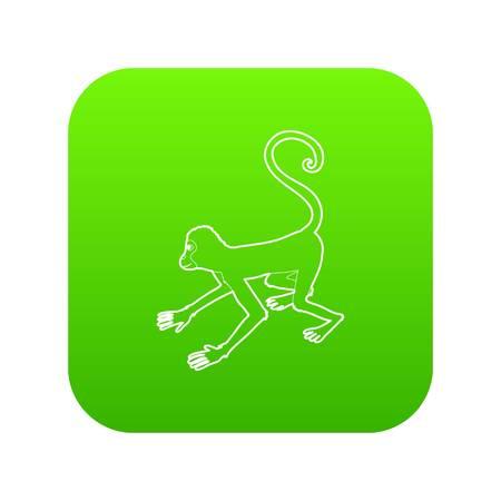 Playful monkey icon green vector isolated on white background Illustration