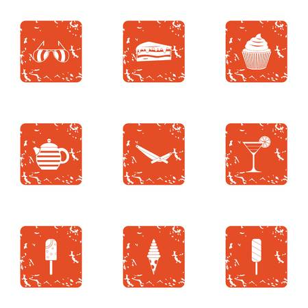Dessert morning icons set. Grunge set of 9 dessert morning vector icons for web isolated on white background