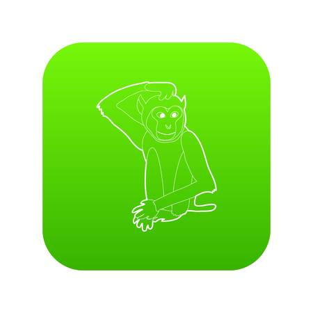 Brooding monkey icon green vector isolated on white background