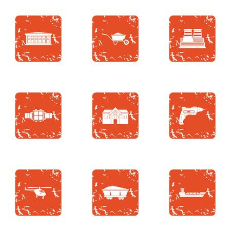 Bring the material icons set. Grunge set of 9 bring the material vector icons for web isolated on white background