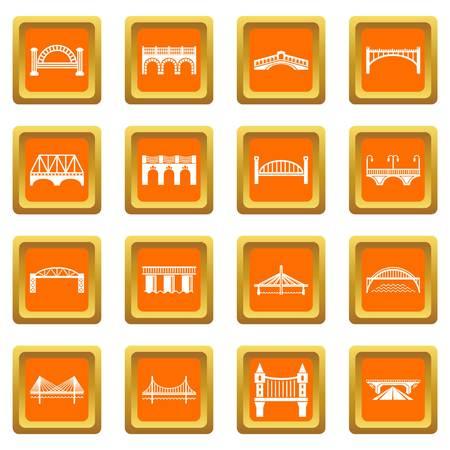 Bridge icons set vector orange square isolated on white background