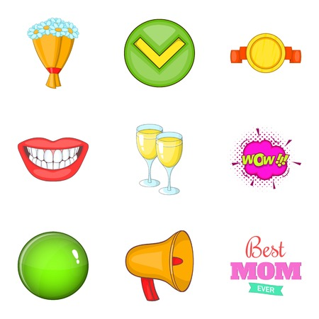 Achieve icons set. Cartoon set of 9 achieve vector icons for web isolated on white background