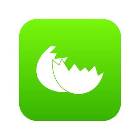 Egg shell icon digital green for any design isolated on white vector illustration Illustration