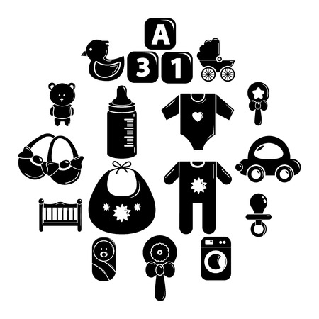 Baby born icons set. Simple illustration of 16 baby born vector icons for web. Bib, baby clothes, toys and crib icons. 向量圖像