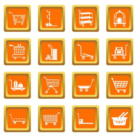 Cart types icons set vector orange square isolated on white background. 일러스트