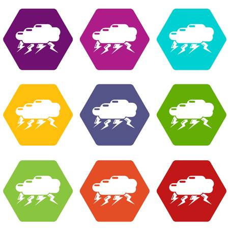 Thunder cloud icons 9 set colorful isolated on white for web