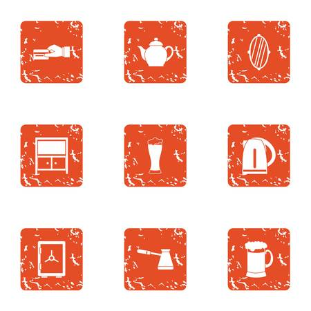 Tearoom icons set. Grunge set of 9 tearoom vector icons for web isolated on white background. Illustration