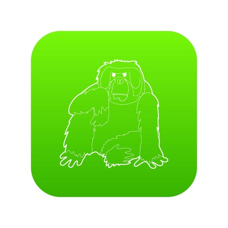 Orangutan icon green vector isolated on white background Illustration