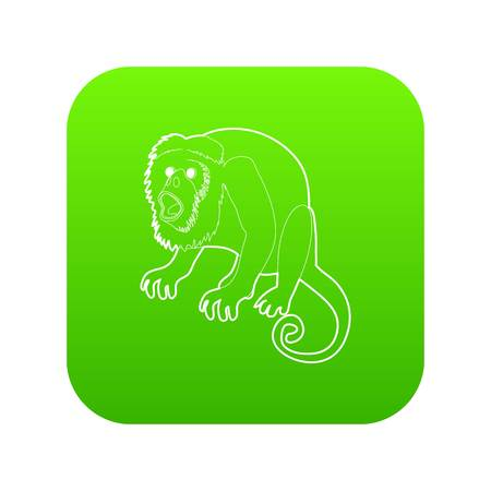 Surprised monkey icon green vector isolated on white background. Vectores
