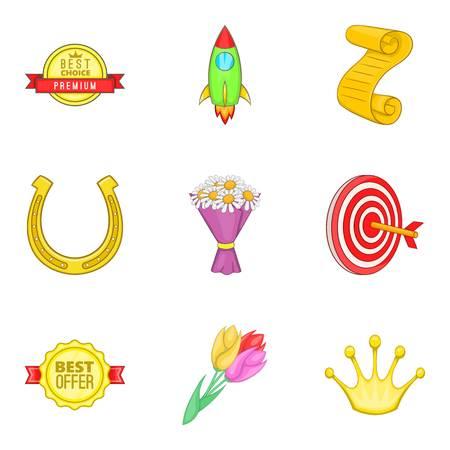 Set di icone di pagamento del premio. Un insieme del fumetto di 9 icone di vettore di pagamento del premio per il web isolato su priorità bassa bianca