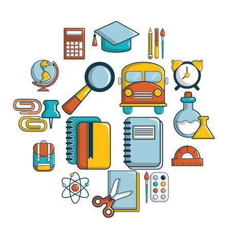School education icons set. Cartoon illustration of 16 school education vector icons for web