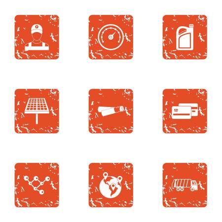 Region icons set. Grunge set of 9 region vector icons for web isolated on white background