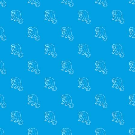 Surprised monkey pattern vector seamless blue repeat for any use Stock Photo