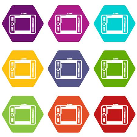 Graphic tablet icons 9 set coloful isolated on white for web