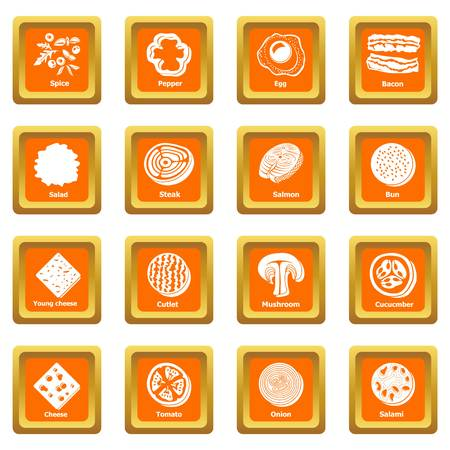 Slice food icons set vector orange square isolated on white background. Pepper, egg, bacon, mushroom, cucumber and onion icons.