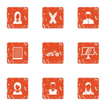 Design work icons set. Grunge set of 9 design work vector icons for web isolated on white background. Man, woman, pencils, notebook and monitor icons.