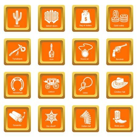 Far west icons set vector orange carré isolé sur fond blanc Vecteurs