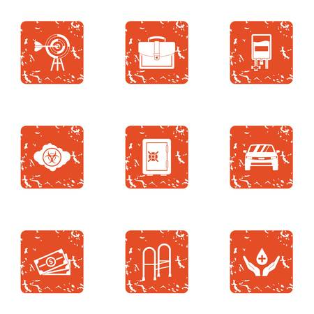 Pecuniary aid icons set. Grunge set of 9 pecuniary aid vector icons for web isolated on white background