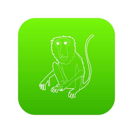 Sitting monkey icon green vector isolated on white background