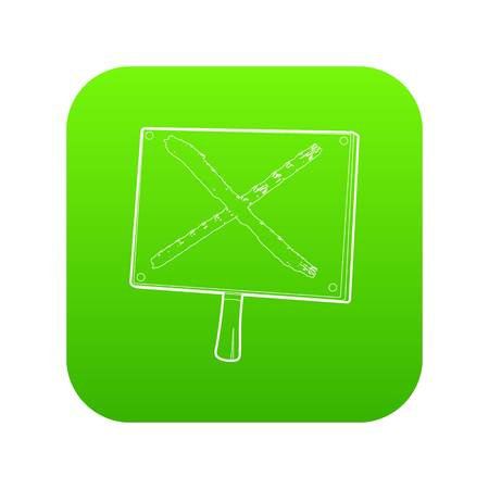 Cross sign icon green vector isolated on white background